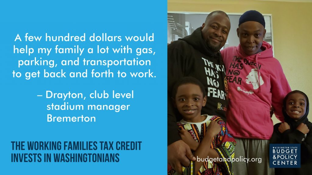 "Family of four standing together. Text: ""A few hundred dollars would helpy my family a lot with gas, parking, and transportation to get back and forth to work."" -Drayton, club level stadium manager Bremerton"
